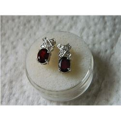 EARRINGS - NEW GARNET & DIAMONDS IN STERLING SILVER SETTING - POST & BUTTERFLY BACKING - RETAIL ESTI