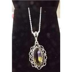 NECKLACE - CUSTOM MADE LARGE AMETRINE BAZEL SET IN STERLING SILVER - RETAIL ESTIMATE $250