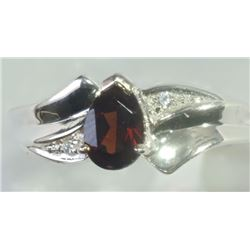 RING - PEAR FACETED GARNET WITH 2 SHOULDER GEMS IN STERLING SIILVER SETTING - RETAIL ESTIMATE $335