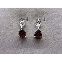 EARRINGS - 2.2 CTW PEAR FACETED GARNET & 2 DIAMONDS IN STERLING SILVER SETTING - RETAIL ESTIMATE $30