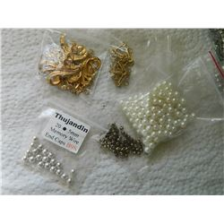 LOT OF NEW JEWELRY FINDNGS & ASSORTED LOOSE BEADS