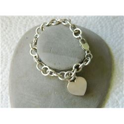 BRACELET - .925 CHARM BRACELET WITH LOBSTER CLAST - INCLUDES .925 SILVER HEART CHARM - 31 gm - RETAI