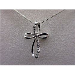 NECKLACE - 2 ROUND FACETED WHITE DIAMONDS IN STERLING SILVER CROSS DESIGNED SETTING - RETAIL ESTIMAT