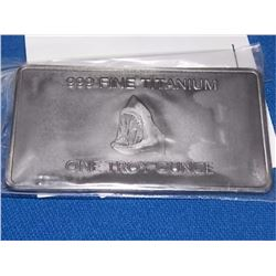 TITANIUM BAR - 1OZ .999 TITANIUM MINT BAR - AUSTRALIA - SHARK MOTIF - ONLY 400 MINTED