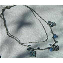 VINTAGE NECKLACE - BLUE BEADS  - HEART, SQUARE AND OVAL PENDANTS ACCENTED WITH RHINESTONES