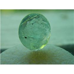GEM STONE - OVAL CHECKER BOARD FACETED AQUAMARINE LIGHT BLUE/GREEN CRACKLED  - 14.3L X 12.4W X 4.4H
