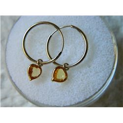**** FEATURE ITEM**** - EARRINGS - 1.2CTW HEART FACETED YELLOW SAPPHIRE IN 14K YELLOW GOLD SETTING -
