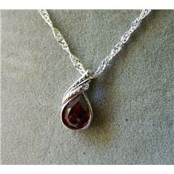 NECKLACE - 1.15CT PEAR FACETED GARNET & DIAMOND IN STERLING SILVER BEZEL SETTING