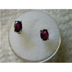 EARRINGS - 3 CTW OVAL FACETED GARNET IN STERLING SILVER SETTING - POST & BUTTERFLY BACKING - RETAIL