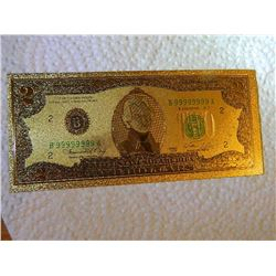 GOLD FOIL BILL - 24K SOLID GOLD - USA $2 - not legal tender