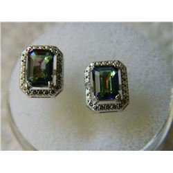 EARRINGS - EMERALD FACETED MYSTIC TOPAZ & DIAMONDS IN STERLING SILVER SETTING - RETAIL ESTIMATE $350