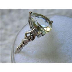 RING - PEAR FACETED GREEN AMETHYST & 2 DIAMONDS IN STERLING SILVER SETTING - TEXTURED BAND - RETAIL