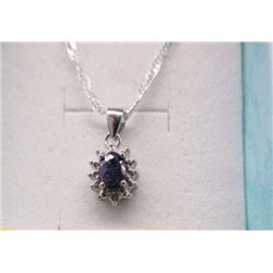 NECKLACE - OVAL FACETED BLUE SAPPHIRE & DIAMOND IN STERLING SILVER SETTING - RETAIL ESTIMATE $350