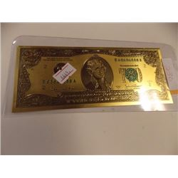 GOLD FOIL BILL - .9999 YELLOW GOLD - USA $2 SINGLE SIDED