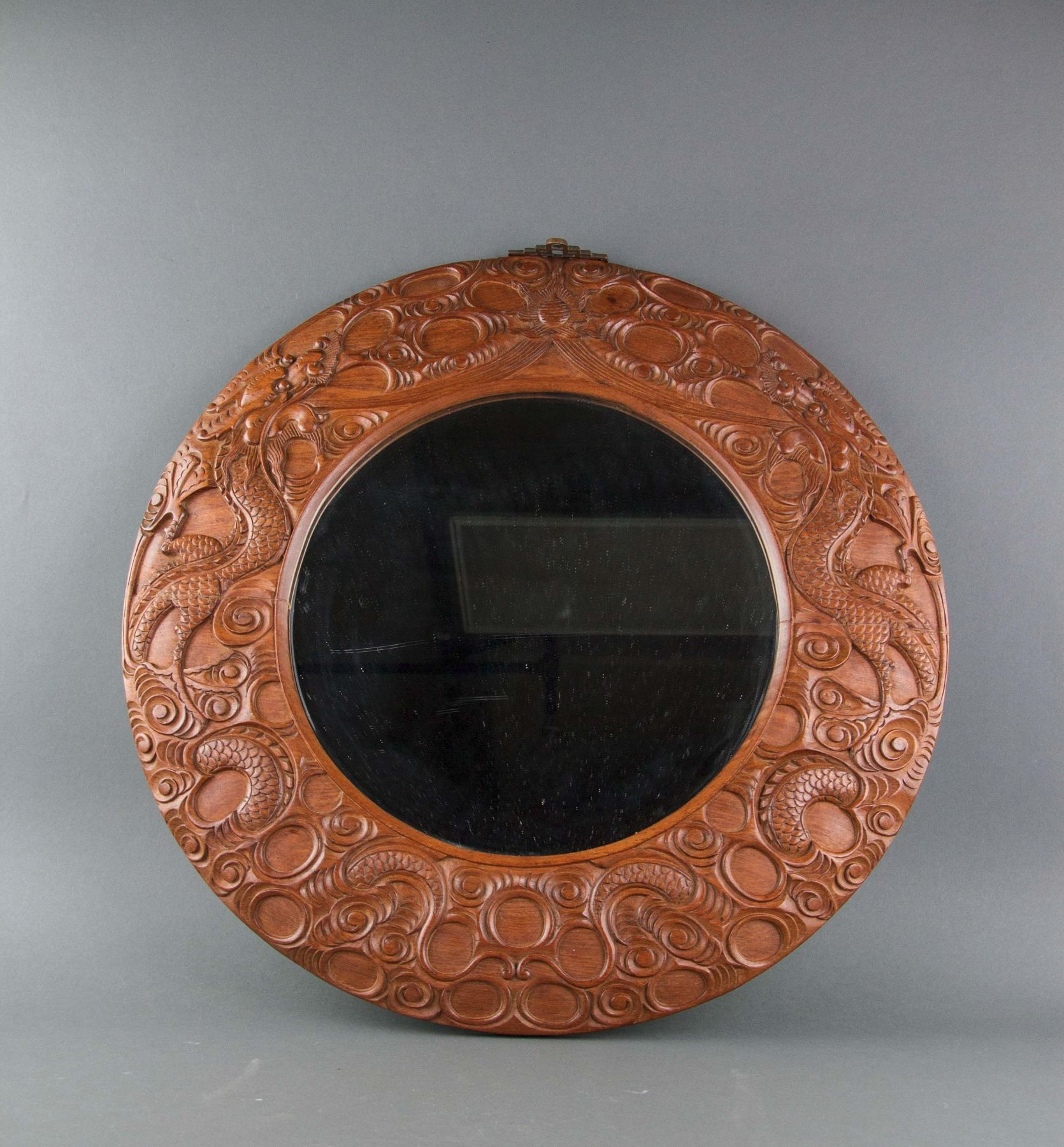 Chinese Wall Mirror with Carved Dragon Frame