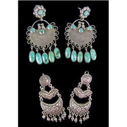 2 Pairs of Silver Earrings - Federico Jimenez