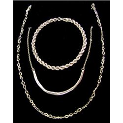 3 Silver Chain Necklaces