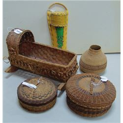 Box Lot of Basketry Items
