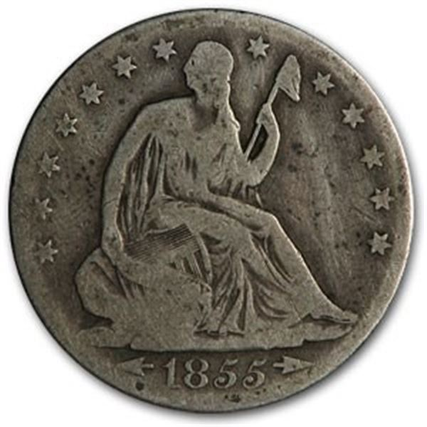 1855 Silver Liberty Seated Quarter AU
