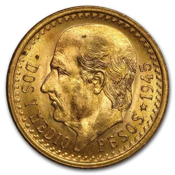 1945 Mexico Gold 2 1/2 Pesos AGW .0603