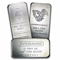 10 oz  .999 Pure Silver Bar - Engelhard
