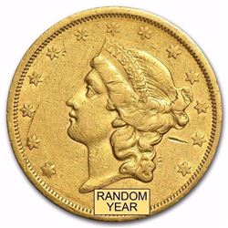 1866-1876 $20 Liberty Gold Double Eagle Type 2 With Motto