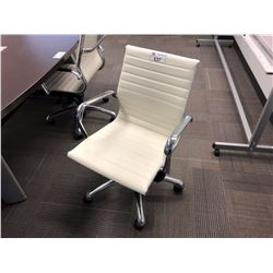 WHITE LEATHER MODERN BOARDROOM CHAIR
