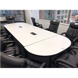 WHITE 14 FT MULTI SECTION POWERED OVAL BOARDROOM TABLE