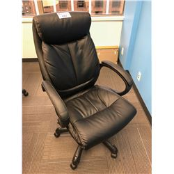 BLACK LEATHER EXECUTIVE HI BACK OFFICE CHAIR