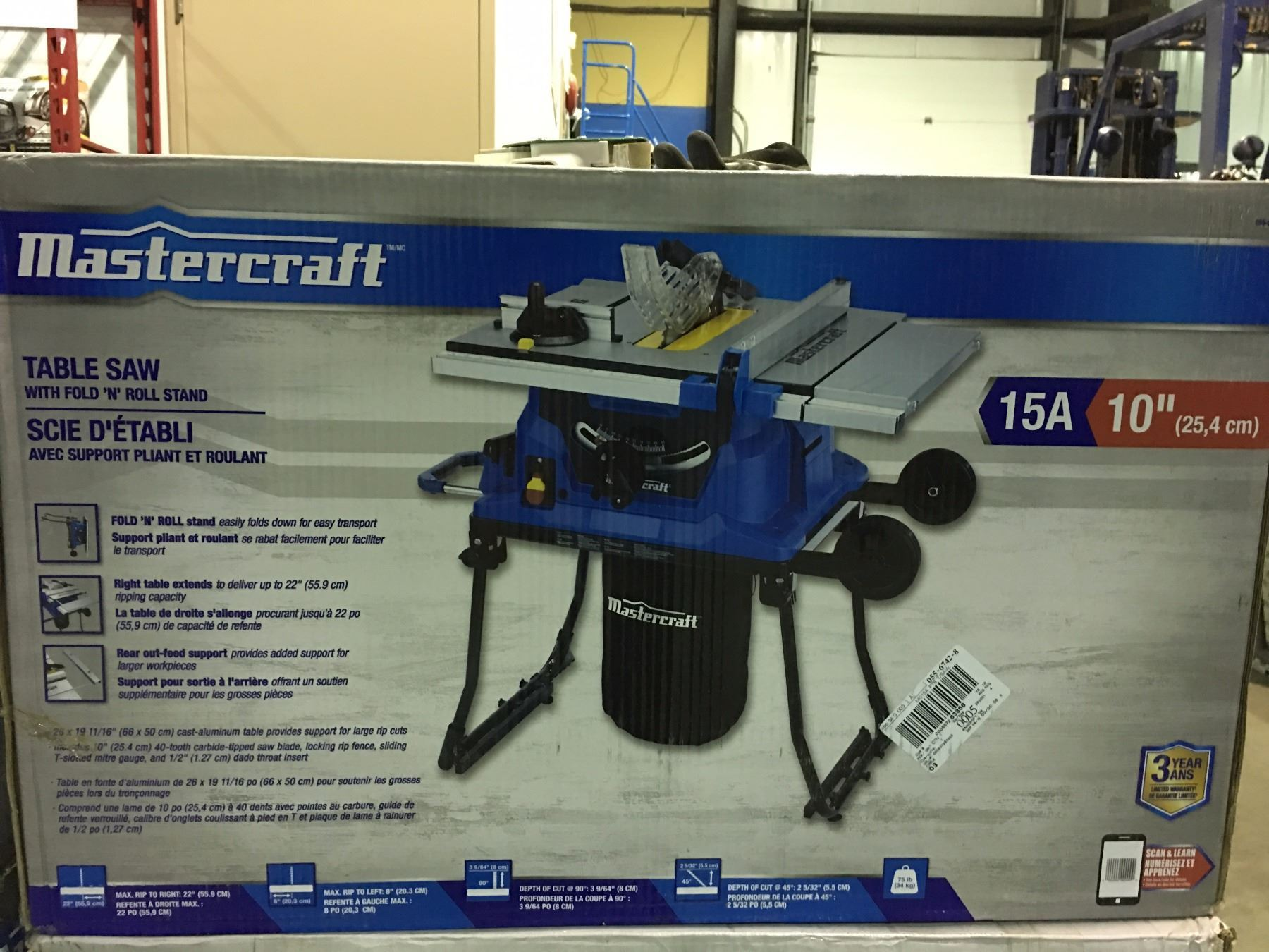 Mastercraft 10 table saw with fold roll stand image 1 mastercraft 10 table saw with fold roll stand greentooth Choice Image