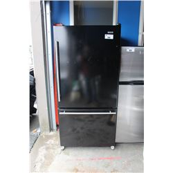 JENN AIR TWO DOOR BLACK FRIDGE WITH BOTTOM FREEZER