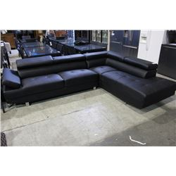 TWO PIECE BLACK LEATHER SECTIONAL SOFA