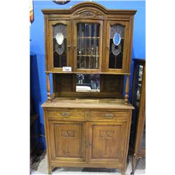 ANTIQUE BEVELED GLASS CABINET
