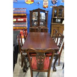 ANTIQUE BALL AND CLAW FOOT BUFFET AND HUTCH WITH CHIPPENDALE STYLE CHAIRS AND DRAW LEAF TABLE