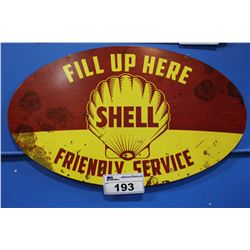 SHELL FRIENDLY SERVICE TIN SIGN REPRODUCTION