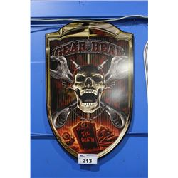 GEAR HEAD TIN SIGN