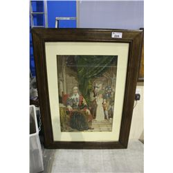 LARGE FRAMED PETIT POINT PICTURE