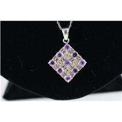 CERTIFIED DIAMOND + AMETHYST NECKLACE, 1.85 CT 9 ROUND PURPLE AMETHYST GEMSTONES, STERLING SILVER,