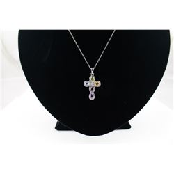 CERTIFIED MULTI GEMSTONE + DIAMOND CROSS NECKLACE, 5 PEARCUT GEMSTONES, STERLING SILVER, INCLUDES