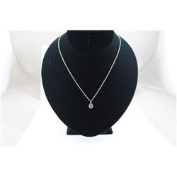 "RED RUBY + DIAMOND PENDANT/NECKLACE, OVAL CUT RUBY, 18"" CHAIN"