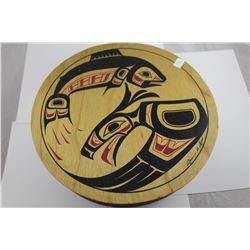 "LARGE 11"" FIRST NATIONS PAINTED WOODEN BOX FILLED WITH ASSORTED JEWELRY"