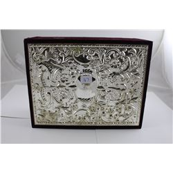 LARGE VELVET + SILVER JEWELRY BOX FILLED WITH ASSORTED JEWELRY