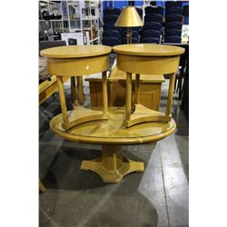 PINE COFFEE TABLE AND 2 END TABLES