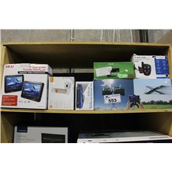 SHELF LOT OF REMOTE CONTROL PLANE, PORTABLE DVD