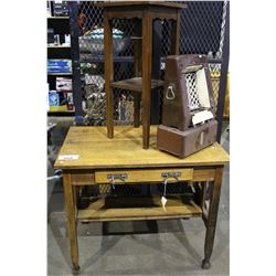 MISSION STYLE OAK DESK, PLANT STAND AND ELECTRIC HEATER