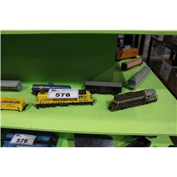 SHELF LOT OF H.O  MODEL TRAIN PIECES