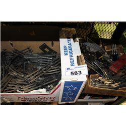 SHELF LOT OF LIONEL TRAIN TRACKS AND MISC ELECTRONICS
