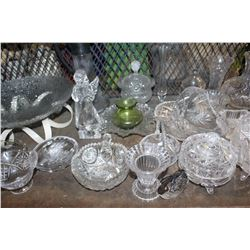SHELF LOT OF GLASSWARE