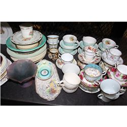 SHELF LOT OF COLLECTABLE DISHES AND PLATTERS