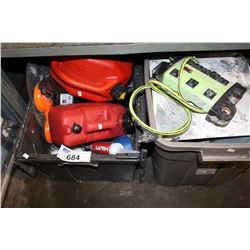 2 TOTES OF MISC TOOLS AND CONSTRUCTION MATERIAL